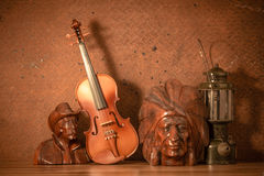 Violin with lantern Royalty Free Stock Images