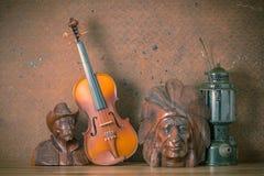 Violin with lantern Royalty Free Stock Image