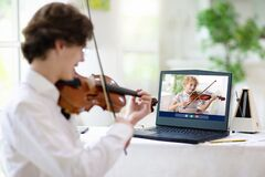 Free Violin Lesson Online. Music Remote Tuition Stock Photography - 181738752