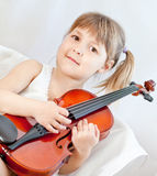 Violin. Little child with violin  on white Stock Photo