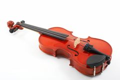 Violin lying down on white Stock Image