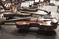 Violin lying on the stage Stock Photo