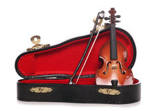 Violin miniature musical instrument. Cutout Royalty Free Stock Photo
