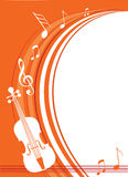 Violin music. Notes of a violin on an orange background Stock Photography