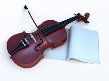 Violin with music-book for greetig Royalty Free Stock Photos