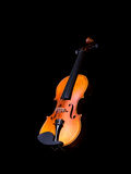 Violin music instrument of orchestra. Isolated on black Stock Image