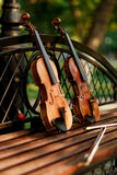 Violin music instrument of orchestra. Violins in the park on the bench Royalty Free Stock Photography
