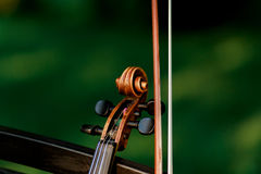 Violin music instrument of orchestra. Violins in the park on the bench Royalty Free Stock Image