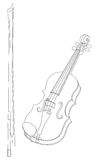 Violin music instrument. Vector illustration of violin with bow isolated on a white background. Can be used for graphic design, textile design or web design Royalty Free Stock Photography