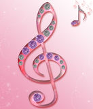 Violin music key. On pink background Royalty Free Stock Photo