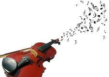 Violin with music notes Royalty Free Stock Images