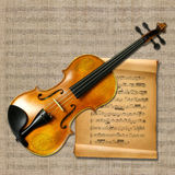Violin with music notes Stock Photos