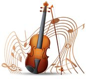 Violin with music notes in background. Illustration Stock Image