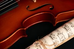 Violin, music notes and red hearts royalty free stock photos