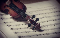 Violin and music notes Stock Photo