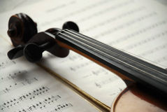 Violin on music paper Royalty Free Stock Images
