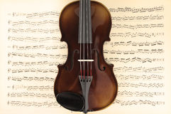 Violin and music sheet. A Violin over the music sheet Royalty Free Stock Photography