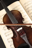Violin and music sheet. Violin over the music sheet Royalty Free Stock Images