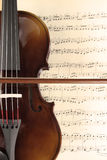 Violin and music sheet. Violin over the music sheet Stock Image
