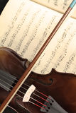 Violin and music sheet. Violin over a music sheet Royalty Free Stock Images