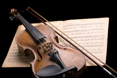 Violin on music sheet stock image