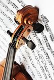 Violin with music sheet. Violin notes. Violin with music sheet notes. Violin head scroll Classical music instruments Stock Photo