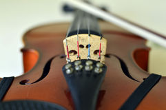 Violin music wooden instrument. Violin music wooden instrument with metal strings Stock Photography
