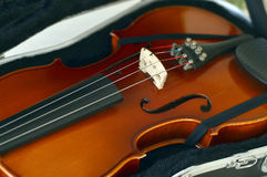 Violin music wooden instrument. Violin music wooden instrument with metal strings Royalty Free Stock Photos