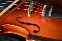 Violin music wooden instrument. Violin music wooden instrument with metal strings Stock Photos