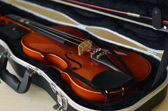 Violin music wooden instrument. Violin music wooden instrument with metal strings Royalty Free Stock Image