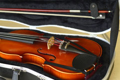 Violin music wooden instrument. Violin music wooden instrument with metal strings Royalty Free Stock Images