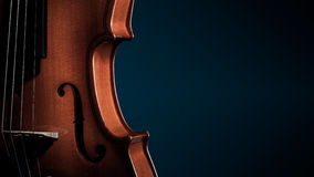 Violin musical instruments of orchestra closeup on black Stock Photo