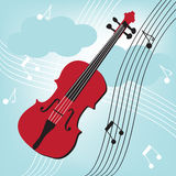 Violin with musical keynotes Royalty Free Stock Images