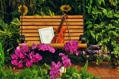 Violin and musical note on bench Stock Image