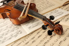 Violin and musical notes. As still life stock images