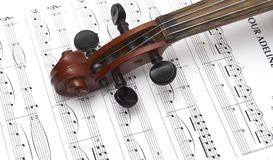 Violin and musical score Royalty Free Stock Image