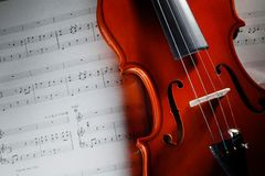 Violin with musical score. Closeup violin with musical score Royalty Free Stock Photos