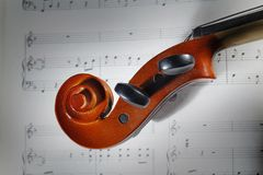 Violin with musical score. Closeup violin with musical score Royalty Free Stock Photo