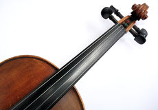 Violin neck. Details of violin neck with white background Royalty Free Stock Photography