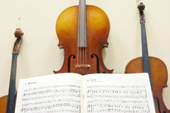 Violin with notes Royalty Free Stock Images