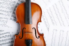Violin on an notes background Stock Images