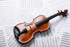 Violin on an notes background Stock Image