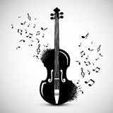 Violin with Notes. Music Background. Vector Jazz Festival Cover Design Royalty Free Stock Images