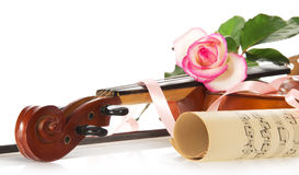 Violin and notes Stock Images