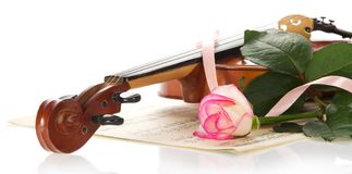 Violin, notes, the rose, decorated with tape Royalty Free Stock Images
