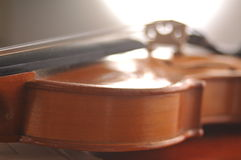Violin and notes on the table Stock Photography