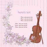 Violin. Old brown violin and pink flowers stock illustration