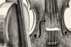 Violin. Old music instrument - violin - closeup - photo Stock Images