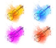 Violin outline drawing, contour line on paint splash abstract background. Isolated on white VECTOR sketches Royalty Free Stock Photos