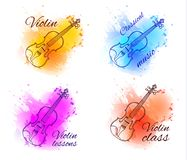 Violin outline drawing, contour line on paint splash abstract background. Isolated on white VECTOR sketches with words Stock Images